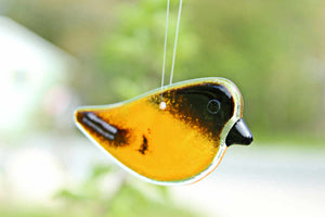 Orange and Black Baltimore Oriole Glass Chick Suncatcher by The Glass Bakery (fused glass art)