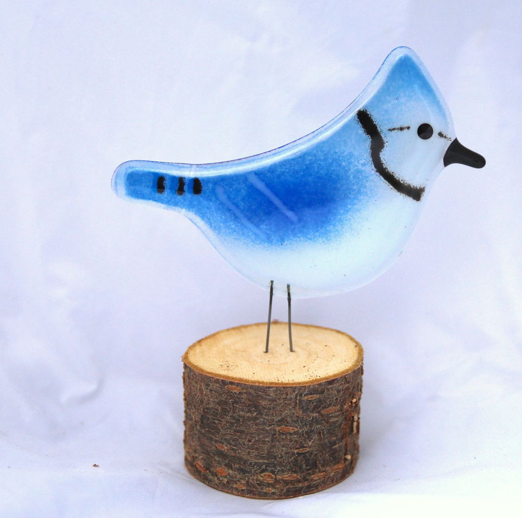Blue Jay on Live-Edge Log by The Glass Bakery