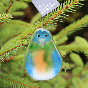Hanging Bluebird Glass Ornament: Bluebird with Green Scarf. Holiday Ornament