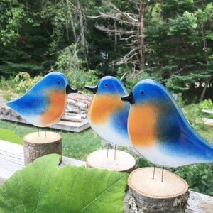 Group of three blue and tan glass Bluebird ornaments in the foreground, with woodland in the background