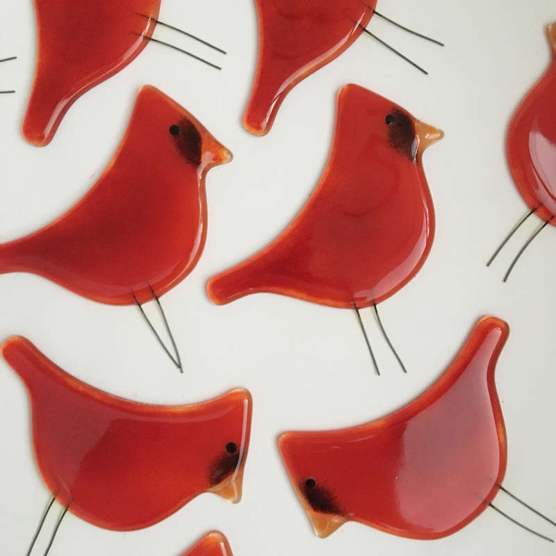 Glass Cardinals in the Kiln by The Glass Bakery