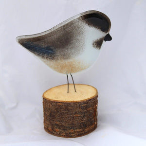 Chickadee on Log: bird ornament by The Glass Bakery
