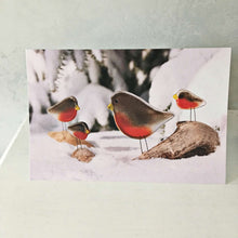 Load image into Gallery viewer, Christmas Card with Glass Robin Ornaments by The Glass Bakery
