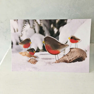 Christmas Card with Glass Robin Ornaments by The Glass Bakery