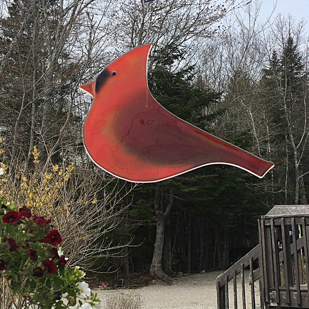 Extra Large Male Cardinal Hanging Glass Art by The Glass Bakery