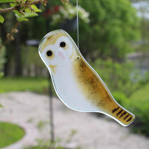 Hanging Amber, Brown and Black studio glass owl ornament