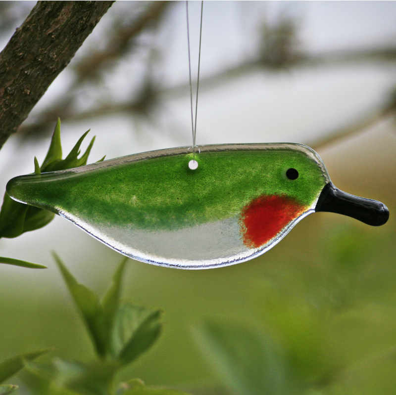 Glass Hanging Hummingbird by The Glass Bakery