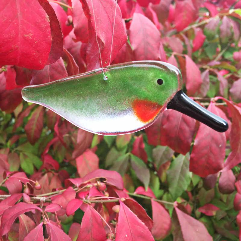 Ruby Throated Glass Hummingbird hanging in a Burning Bush by The Glass Bakery Ltd