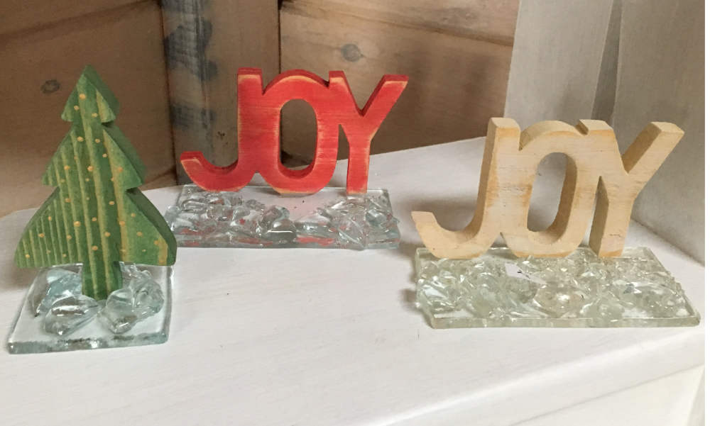 Winter Holiday/Christmas Wood Glass Table Decoration spelling Joy