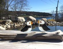 Load image into Gallery viewer, Pair of Black and White Glass Puffin Ornaments