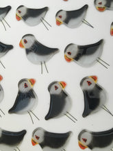 Load image into Gallery viewer, Black and White Glass Puffins at The Glass Bakery Ltd