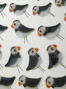Black and White Glass Puffins at The Glass Bakery Ltd