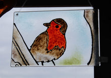 Load image into Gallery viewer, Glass Window Tile featuring a picture of a Robin