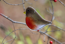 Load image into Gallery viewer, Red and Brown Glass Adult Robin Hanging Ornament in Tree: Ornaments by The Glass Bakery