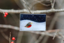 Load image into Gallery viewer, Red Robin on a snowy Hill with midnight blue background: Tree Ornament by The Glass Bakery