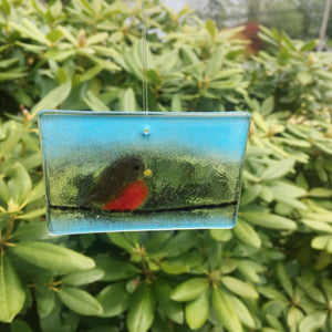 Robin on a wire suncatcher tile: fused glass