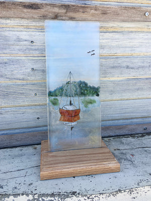 sailboat reflection panel by The Glass Bakery