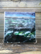 Load image into Gallery viewer, Landscape palette knife painting created from glass powders. The scene is of a turbulent ocean in St Margaret's Bay