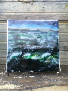 Landscape palette knife painting created from glass powders. The scene is of a turbulent ocean in St Margaret's Bay