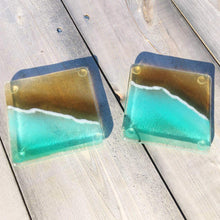 Load image into Gallery viewer, Glass Coasters featuring a beach design in turquoise and gold
