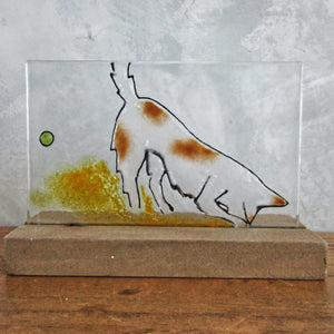 Glass picture showing a brown and white splodgy dog looking for his ball