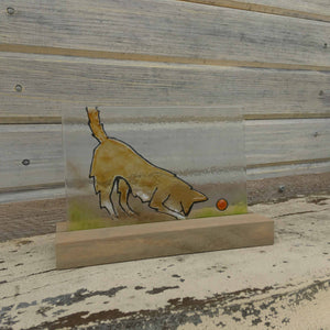 Glass Picture Tile featuring Brown Dog with Red Ball