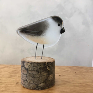 Charming Glass Chickadee Chick on a Log