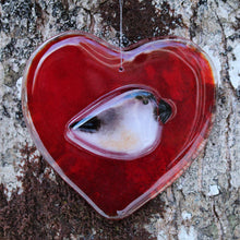 Load image into Gallery viewer, Red glass heart with chickadee
