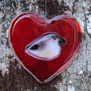 Red glass heart with chickadee