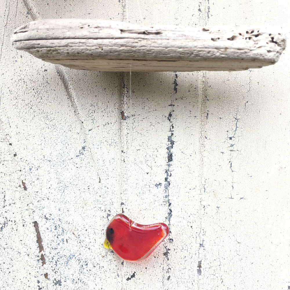 Northern Cardinal (Hanging Glass and Driftwood Mobile)