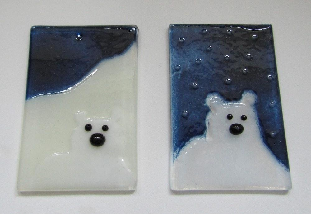 Two fused glass polar bear picture tiles: Christmas Ornaments by The Glass Bakery