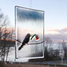 Load image into Gallery viewer, Valentine's Blackbird - Glass Hanging Window Ornament