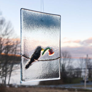 Valentine's Blackbird - Glass Hanging Window Ornament