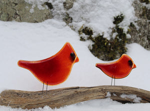 Pair of red glass birds: cardinals