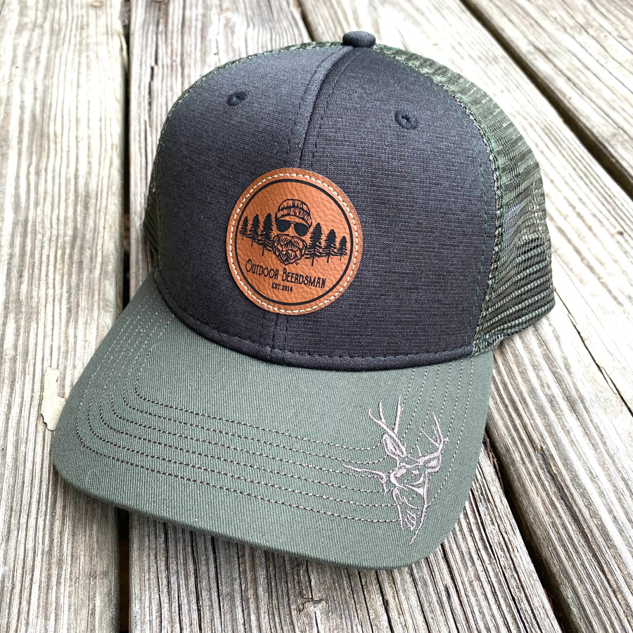 Buck Leather Patch Trucker Hat