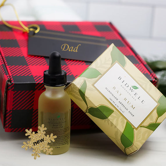 Men's Red Plaid Gift Box with artisan soap and beard oil.