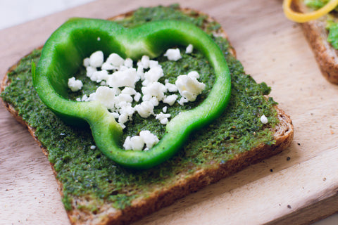 Green Pepper Pesto Toast, Healthy On-The-Go Snacks