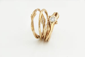 Diamond & Gold Tree Ring Stack