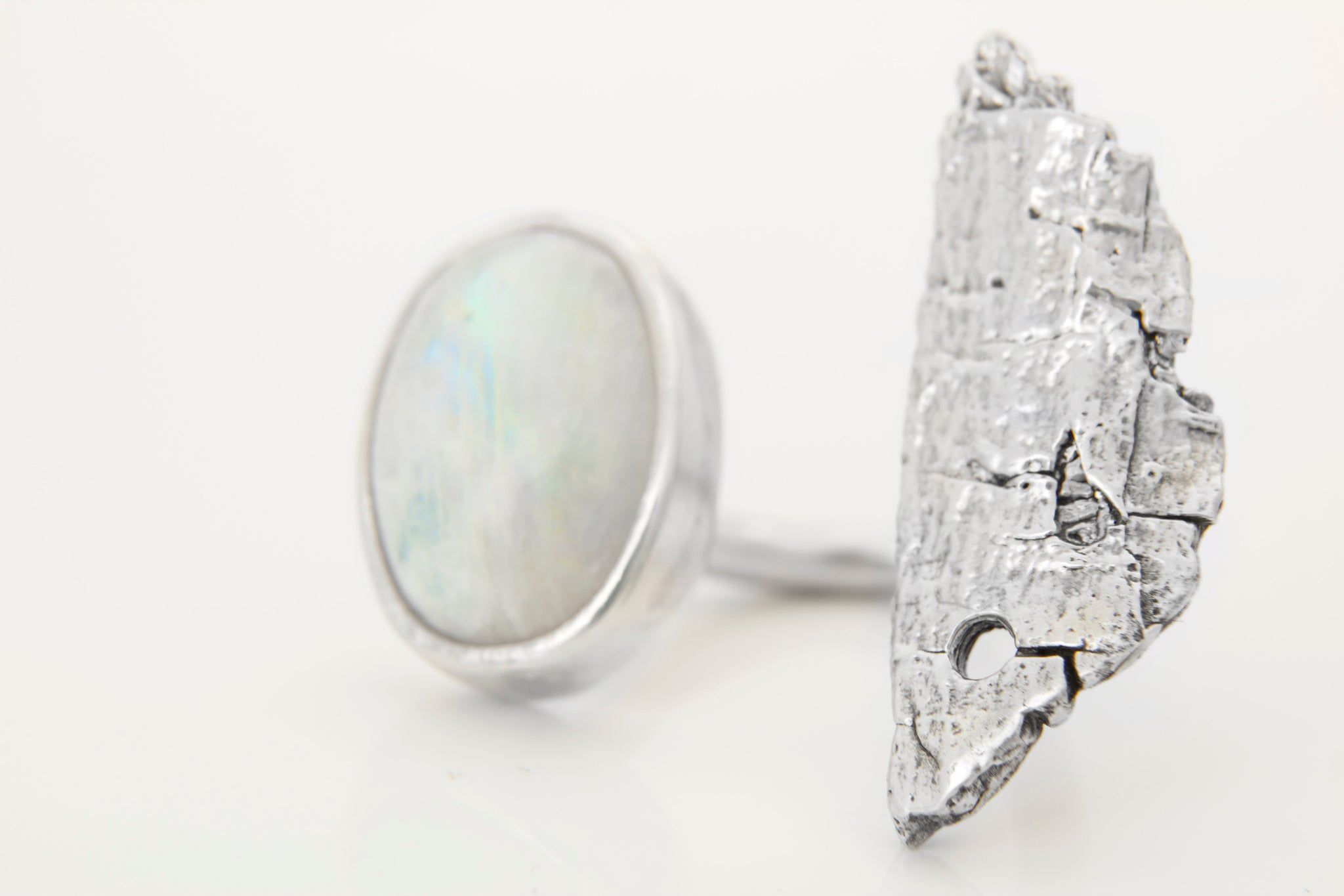 TreeBark and Moonstone Ring