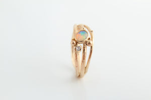 Opal & Diamond and Gold Tree Ring