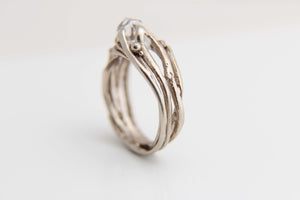 Herkimer Diamond & White Gold Tree Ring
