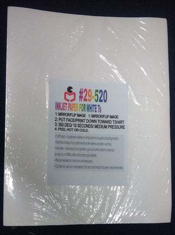 "25 PCS 8.5""X11"" INKJET TRANSFER PAPERS FOR WHITE TSHIRTS - NY Transfers"