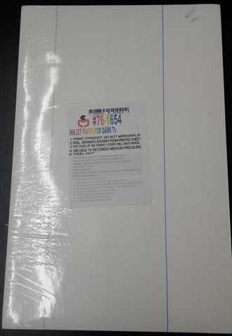 "100 pcs 11"" x 17""  InkJet Transfer papers for BLACK tshirts - NY Transfers"