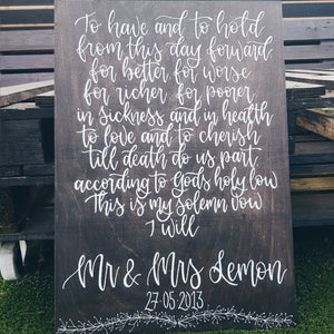 Sentimental Personalised Wood sign - A3