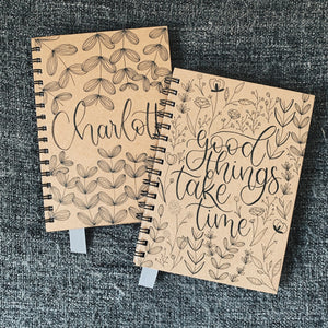 """Good Things Take Time"" Handmade Kraft Notebook"