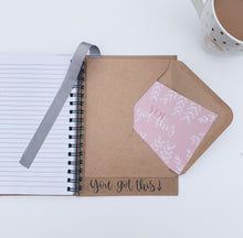 "Load image into Gallery viewer, ""Good Things Take Time"" Handmade Kraft Notebook"
