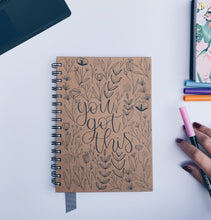 "Load image into Gallery viewer, ""You got this"" Handmade Kraft Notebook"