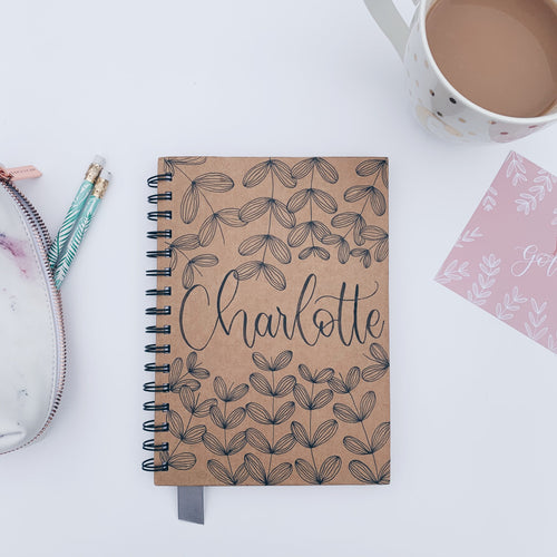 Personalised Name - Handmade Kraft Notebook