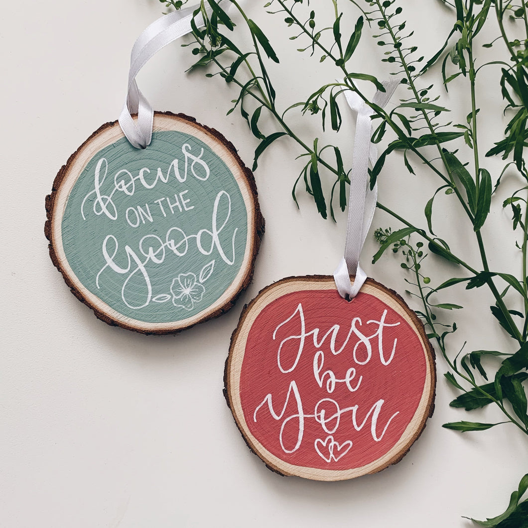 Personalised Positive Wood Decoration