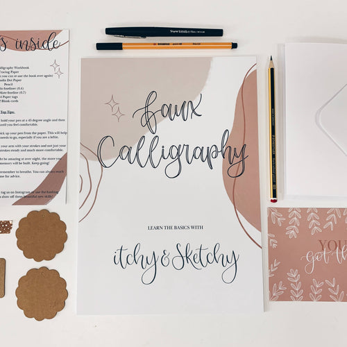 Beginners Faux Calligraphy Workbook Kit